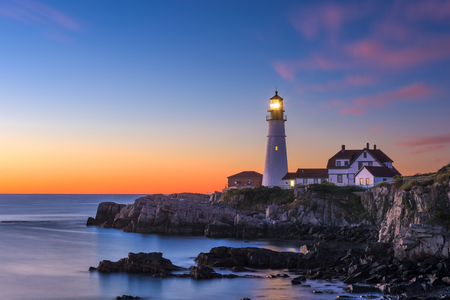 Portland Head Light in Cape Elizabeth, Maine, USA. 版權商用圖片 - 66953069