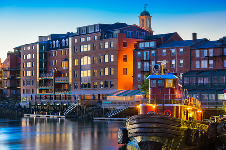 waterfront: Portsmouth, New Hampshire, USA town skyline on the Piscataqua River. Stock Photo