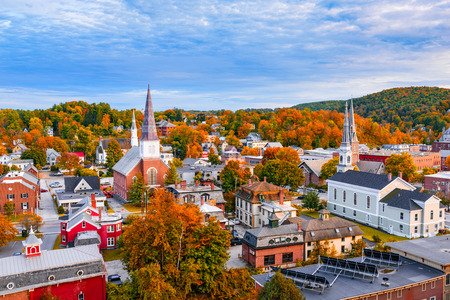 Burlington, Vermont, USA autumn town skyline. Stock Photo