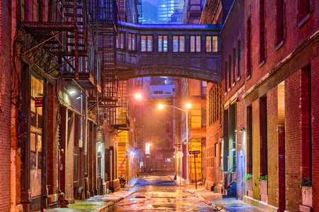 back alley: Alley in the Tribeca neighborhood in New York City.