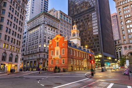 Boston, Massachusetts, USA cityscape at the Old State House. Stock Photo