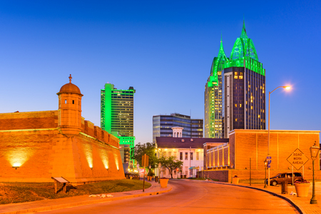 Mobile, Alabama, USA downtown skyline with Fort Conde.