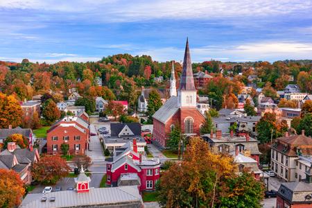 モントピーリア, バーモント州, 米国の町のスカイライン。 写真素材