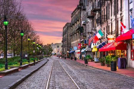Savannah, Georgia, USA bary i restauracje na River Street. Zdjęcie Seryjne