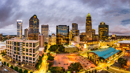 charlotte: Charlotte, North Carolina, USA uptown skyline panorama. Stock Photo