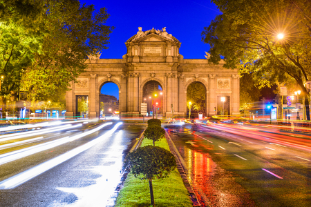 Madrid, Spain cityscape at Puerta de Alcala Gate and Calle de Alcala. Stock Photo