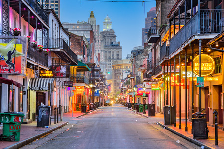 NEW ORLEANS, LOUISIANA - MAY 10, 2016: Bourbon Street in the early morning. The renown nightlife destination is in the heart of the French Quarter. Editöryel
