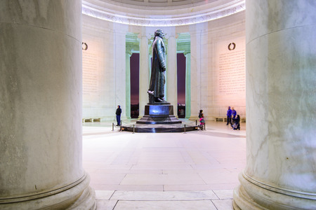 founding: WASHINGTON DC - APRIL 7, 2015: The bronze statue inside the Jefferson Memorial. Thomas Jefferson was a founding father of the United States and served as the third President. Editorial
