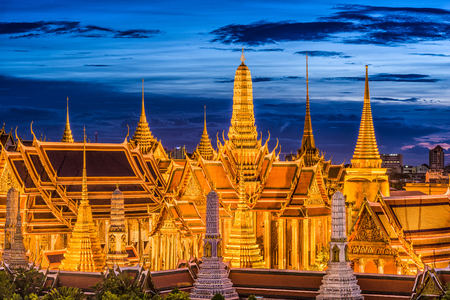 thai temple: Bangkok, Thailand at the Temple of the Emerald Buddha and Grand Palace. Editorial