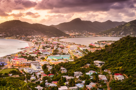 Philipsburg, Sint Maarten, cityscape at the Great Bay and Great Salt Pond. Reklamní fotografie