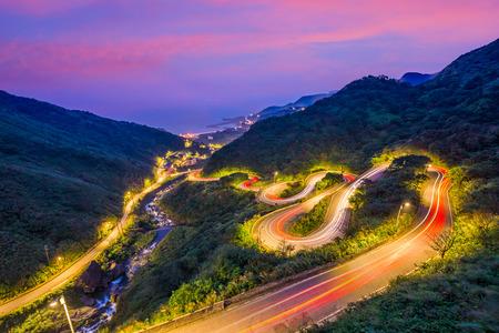 Jiufen, Taiwan hillside roads at twilight.