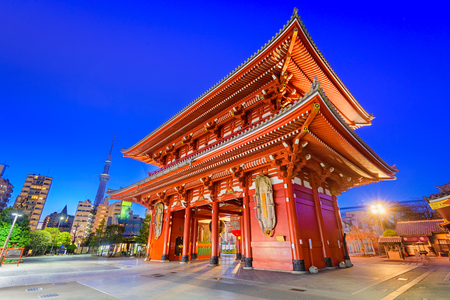 Sensoji Temple gate and Skytree Tower in Tokyo, Japan.