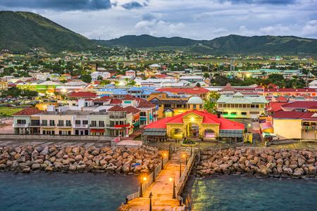 Basseterre, St. Kitts and Nevis town skyline at the port. Imagens - 72980210