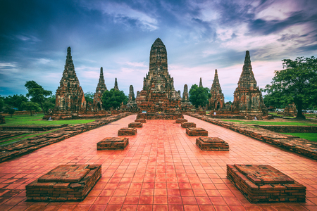 Ayutthaya, Thailand at Wat Chaiwatthanaram. Stock Photo