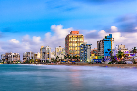San Juan, Puerto Rico resort skyline on Condado Beach. Stock Photo