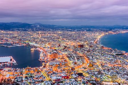 Hakodate, Hokkaido, Giappone Skyline al crepuscolo.