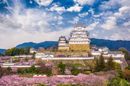 春の桜の季節の間に姫路城姫路市。