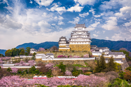 Himeji, Japan at Himeji Castle during spring cherry blossom season. Фото со стока