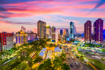 Taichung, Taiwan city skyline at sunset. Фото со стока - 75615929