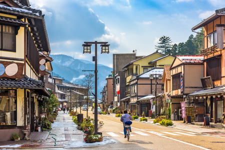 Yamanaka Onsen, Japan hot springs resort town street scene.
