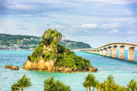 Okinawa, Japan at Kouri Bridge and Kouri Island.