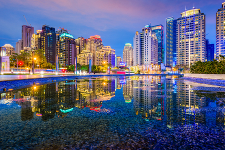 Taichung, Taiwan city skyline at night. Imagens - 75730254