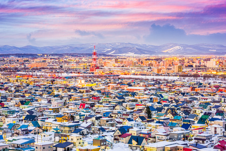 Asahikawa, Japan winter cityscape in Hokkaido. Stock Photo