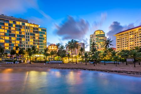 San Juan, Puerto Rico resort skyline on Condado Beach. Stock Photo