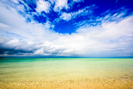 Kumejima Island, Okinawa, Japan at Hatenohama Beach. Stock Photo