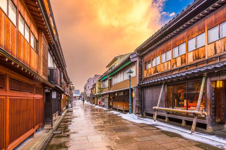 역사적인 니시 챠야 지구의 가나자와. 스톡 콘텐츠