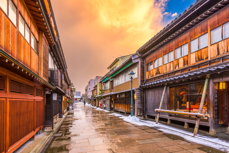 hokuriku: Kanazawa, Japan at  the historic Nishi Chaya District. Stock Photo