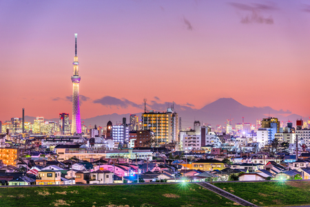 Tokyo, Japan skyline with Mt. Fuji and the Skytree Tower. Stock Photo