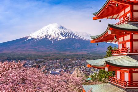 sengen: Fujiyoshida, Japan at Chureito Pagoda and Mt. Fuji in the spring with cherry blossoms. Editorial