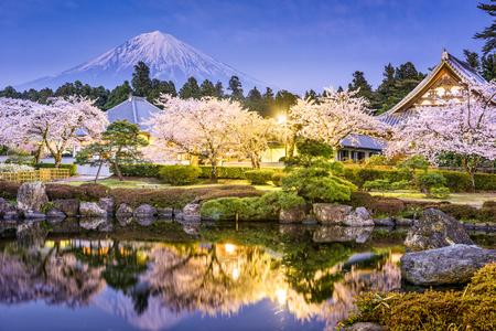 Fujinomiya, Shizuoka, Japan with Mt. Fuji in spring. Stock Photo - 77863217