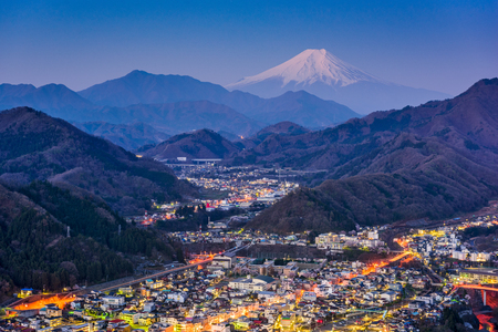 hubs: Otsuki, Japan Skyline with Mt. Fuji.