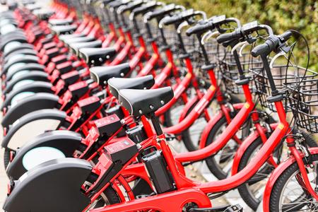 Sightseeing city bikes in Hiroshima, Japan.