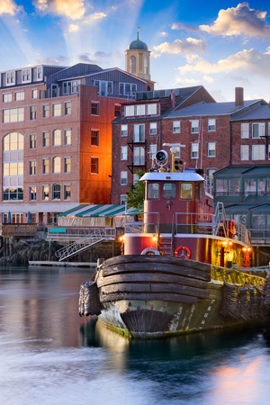 Portsmouth, New Hampshire, USA town skyline on the Piscataqua River. Stock Photo