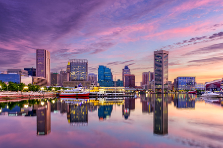 Baltimore, Maryland, Verenigde Staten skyline in de Inner Harbor. Stockfoto