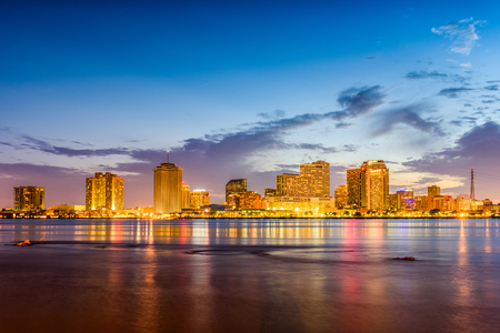 New Orleans, Louisiana, USA skyline on the Mississippi River.
