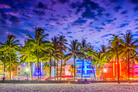 Miami Beach, Florida, USA on Ocean Drive at sunset.