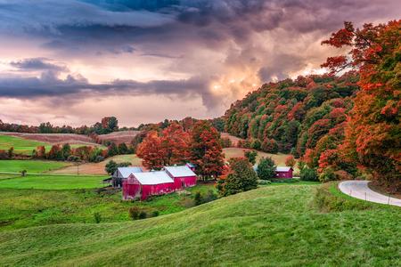 Rural autumn Jenne Farm in Vermont, USA. Foto de archivo