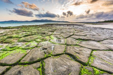 Kumejima, Okinawa, Japan at Tatami-ishi Beach. Stock Photo