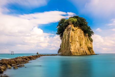 珠洲市見附島で. 写真素材
