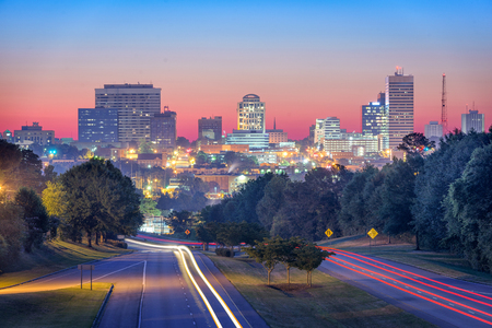Columbia, South Carolina, USA skyline and highway.