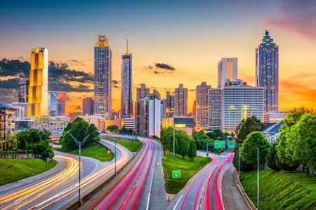Atlanta, Georgia, USA downtown city skyline over Freedom Parkway.