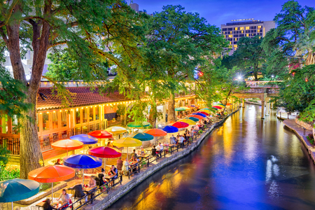 San Antonio, Texas, USA cityscape at the River Walk. Stock Photo