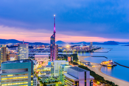 Fukuoka, Japan downtown city skyline. Imagens - 79425418