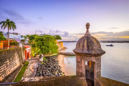 San Juan, Puerto Rico Caribbean coast along Paseo de la Princesa. Stock Photo