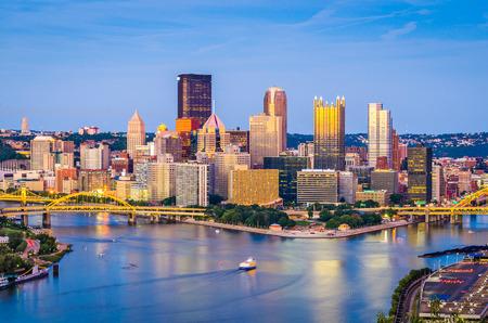 Pittsburgh, Pennsylvania, USA skyline at dusk. Stock Photo