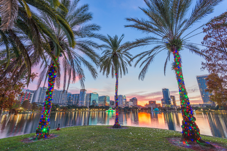Orlando, Florida, USA downtown skyline at Eola Lake. Stock Photo